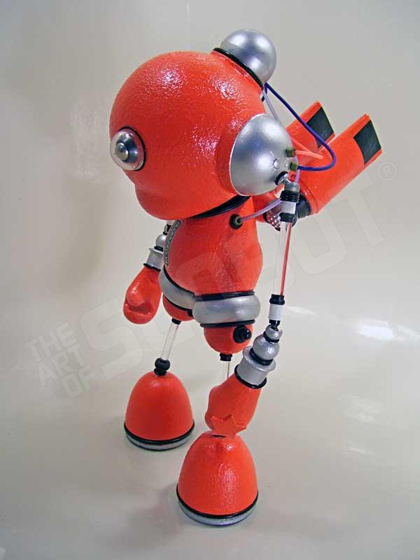 Mike Slobot Kidrobot Munny space age orange silver robot