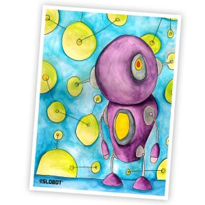 Mike Slobot The World Is Alive With Color Robot Art Watercolor and Ink on Paper