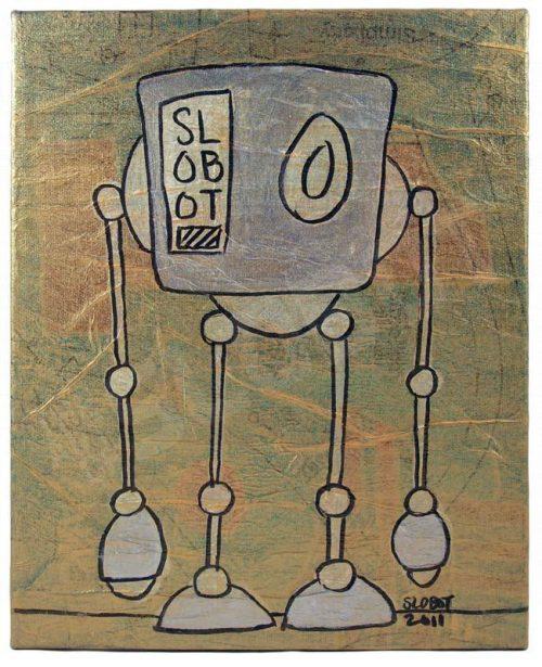 robot pop art mike slobot boxbot in gold