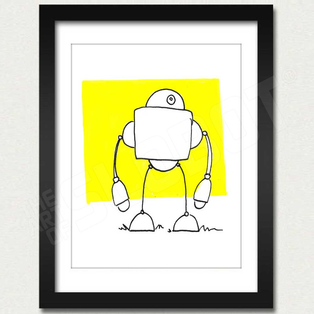 robot art print - white robot on yellow