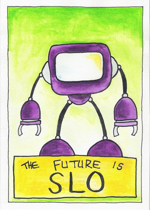 mike slobot watercolor robot pop art