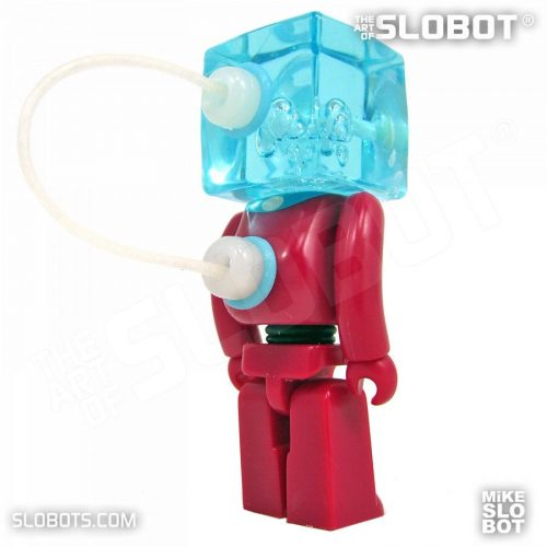 Mike Slobot slomikro Maroon and Clear Blue small robot art back right