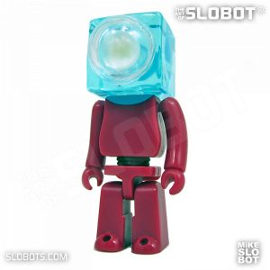Mike Slobot slomikro Maroon and Clear Blue small robot art front