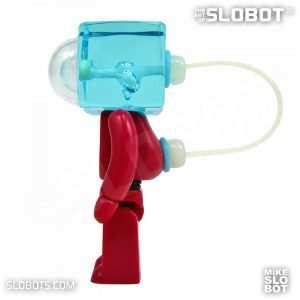 Mike Slobot slomikro Maroon and Clear Blue small robot art left side