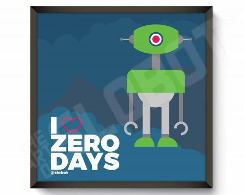 i heart zero days is a robot art print by mike slobot