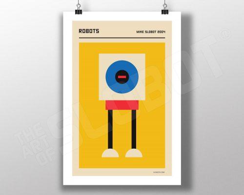 Mike Slobot Bauhaus and Mid-Century Modern Inspired Robot Art Print #1