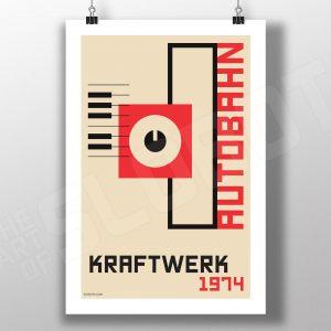 Mike Slobot Bauhaus styled art inspired by Kraftwerk's 1974 album Autobahn