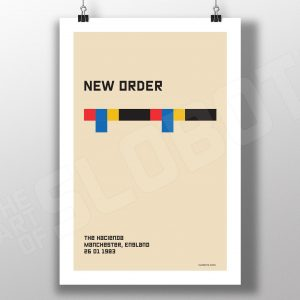 Mike Slobot Bauhaus Style poster inspired by New Order Concert Hacienda Manchester 1983