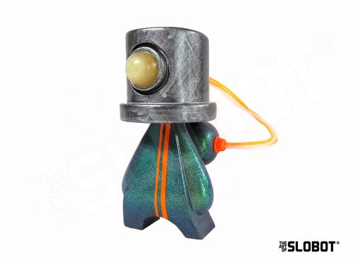 Slobot SM1 is a shiny, glittery holographic robot sculpture by Mike Slobot