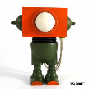 Job 1 (Green and Orange Version). One of a kind robot sculpture by Mike Slobot
