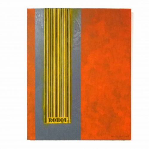 Mike Slobot - Robot (Orange Over Grey) Mixed Media on Canvas