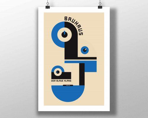 Mike Slobot Bauhaus Music Art Print In Blue